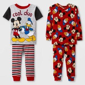 Disney Boys 5T Mickey Mouse 4 Pc Pajamas Set NWT
